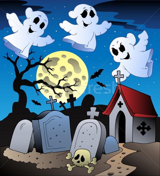 Halloween díszlet temető művészet éjszaka kő Stock fotó © clairev