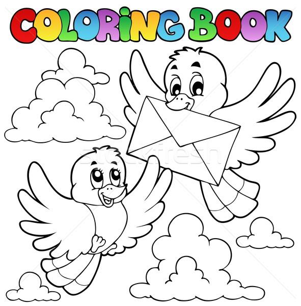 Boyama Kitabı Kuşlar Zarf Gökyüzü Kitap Mutlu Vektör