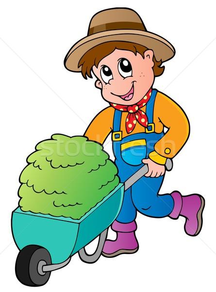 Cartoon farmer with small hay cart Stock photo © clairev