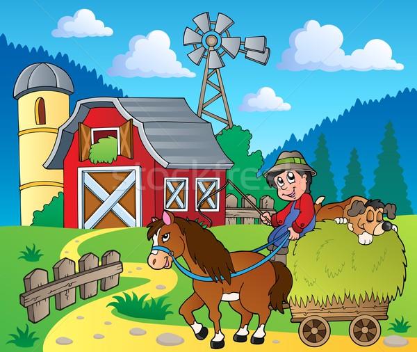 Stockfoto: Boerderij · afbeelding · paard · persoon · tekening · glimlachend