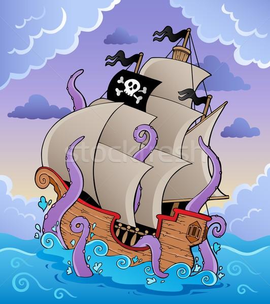 Stockfoto: Piraat · schip · storm · water · hout · zee