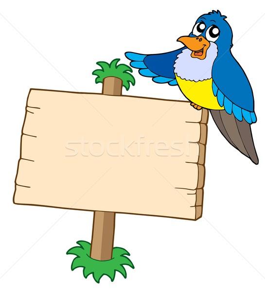 Stockfoto: Blauw · vogel · teken · schrijven · brief