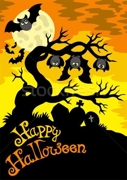 Foto stock: Halloween · cemitério · silhueta · céu · feliz · arte