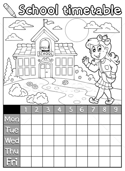 Coloring book school timetable 6 Stock photo © clairev