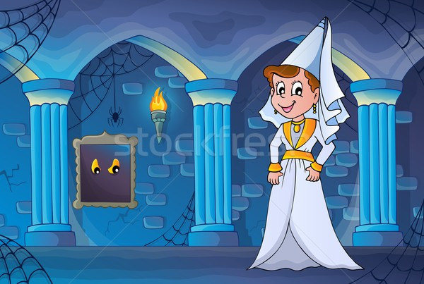 Medieval lady in haunted castle Stock photo © clairev