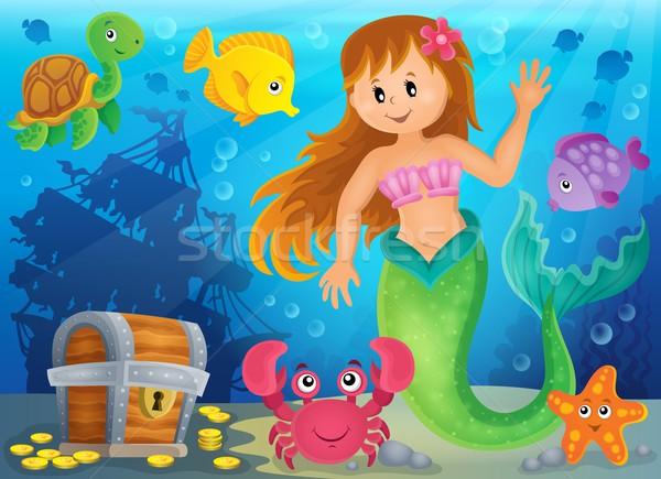 Zeemeermin afbeelding vrouw zee schoonheid onderwater Stockfoto © clairev