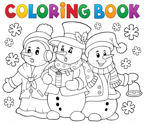 Coloring book snowmen carol singers Stock photo © clairev