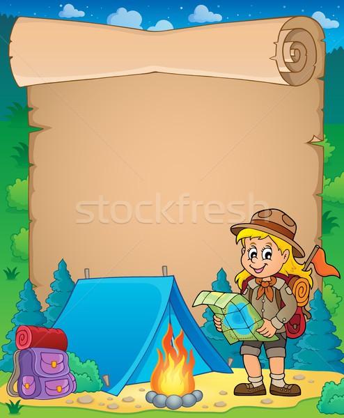 Perkament verkenner meisje glimlach kaart kind Stockfoto © clairev
