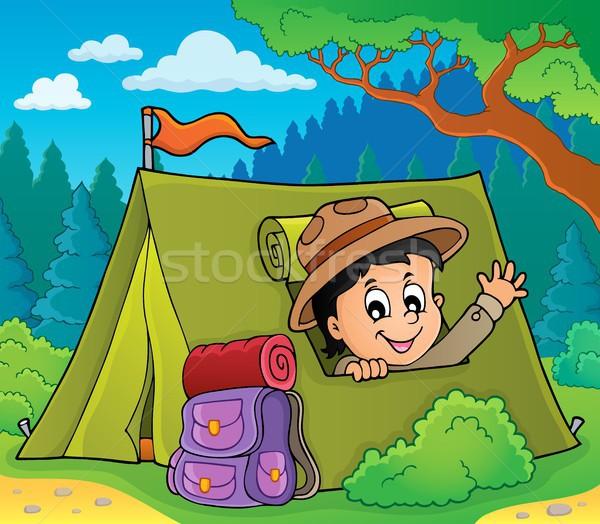 Izci çadır görüntü mutlu sanat erkek Stok fotoğraf © clairev