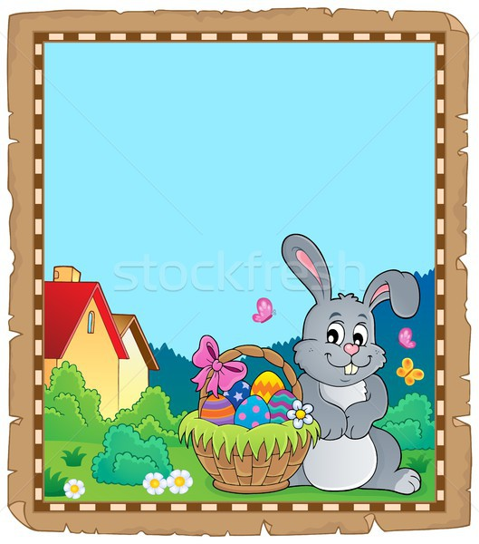 Parchment with Easter bunny topic 5 Stock photo © clairev