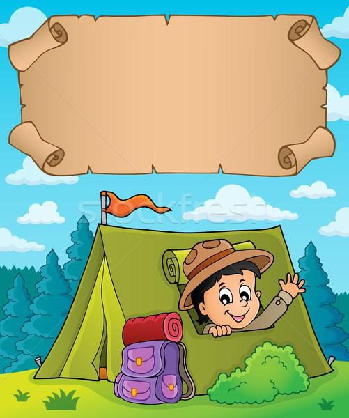 Küçük parşömen izci çadır kâğıt mutlu Stok fotoğraf © clairev