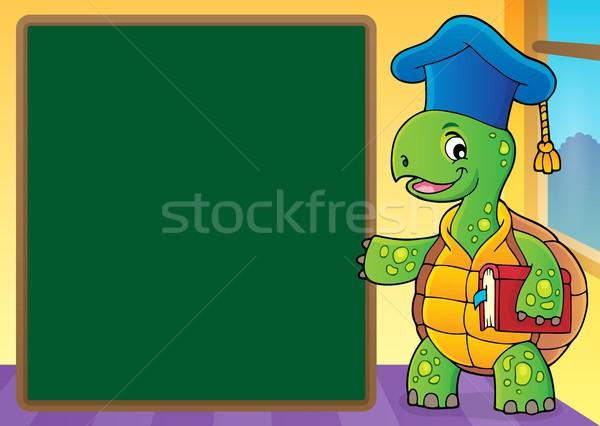 Schildpad leraar afbeelding boek school gelukkig Stockfoto © clairev