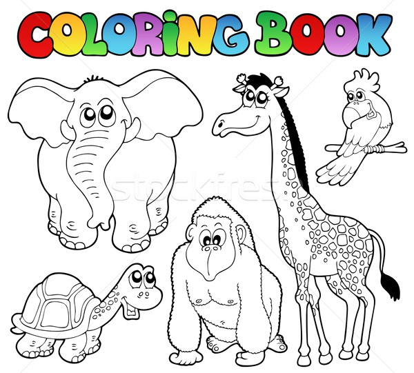 Coloring book tropical animals 2 Stock photo © clairev