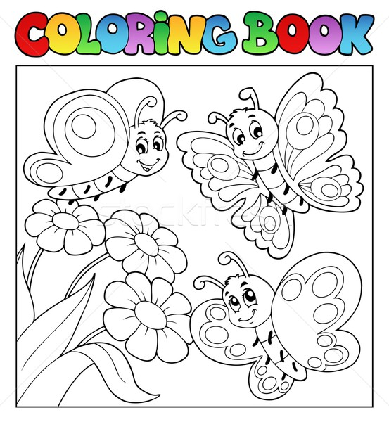 Coloring book with butterflies 3 Stock photo © clairev
