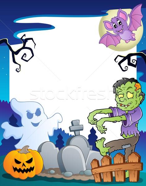 Keret halloween téma terv művészet ősz Stock fotó © clairev