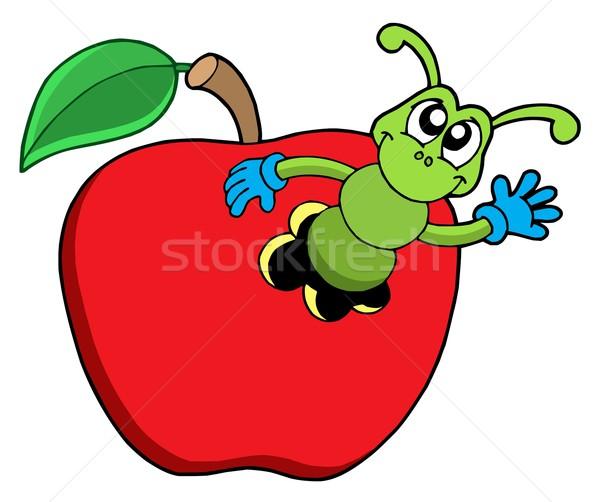 Cute worm mela mano design frutta Foto d'archivio © clairev