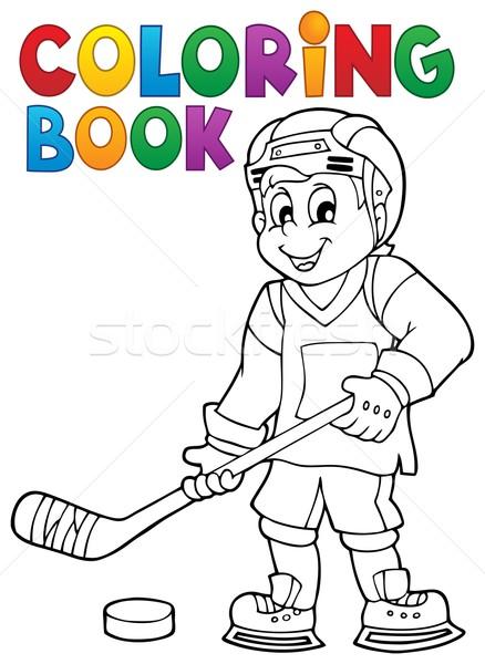 Coloring book hockey theme 1 Stock photo © clairev
