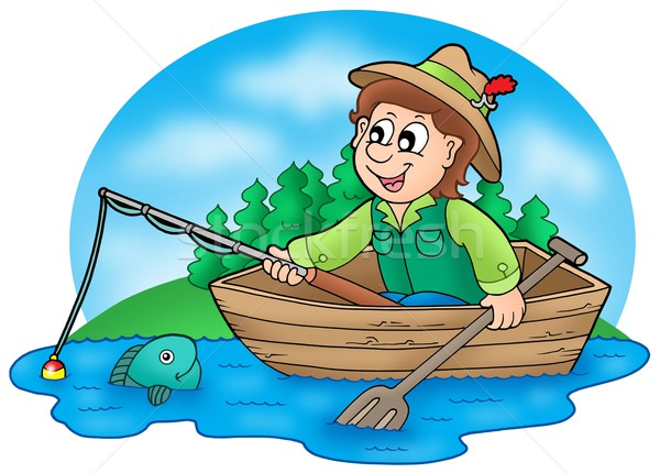 Fisherman in boat with trees Stock photo © clairev