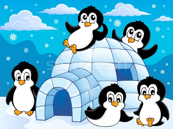 Igloo with penguins theme 1 Stock photo © clairev