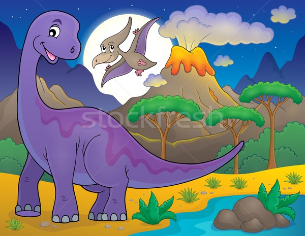 Night landscape with dinosaur theme 1 Stock photo © clairev