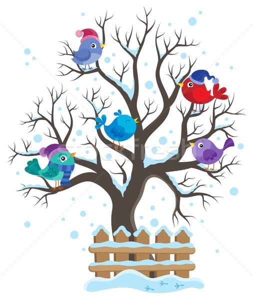 Winter tree with birds theme image 1 Stock photo © clairev