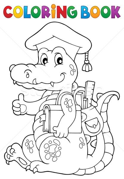 Coloring book school theme crocodile Stock photo © clairev