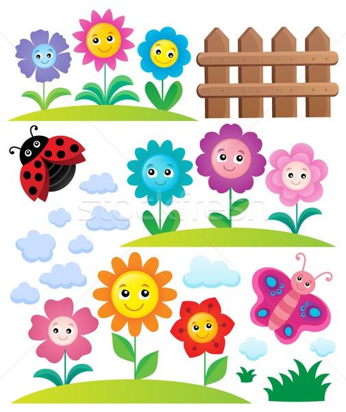 Stock photo: Happy flowers topic set 3