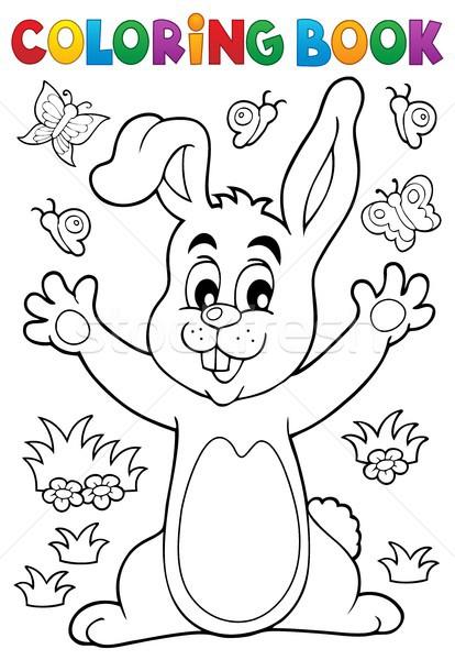 Boyama Kitabı Tavşan Bahar Kitap Mutlu Doğa Vektör
