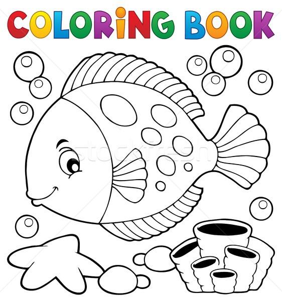 Boyama Kitabi Balik Kitap Mutlu Deniz Sanat Vektor