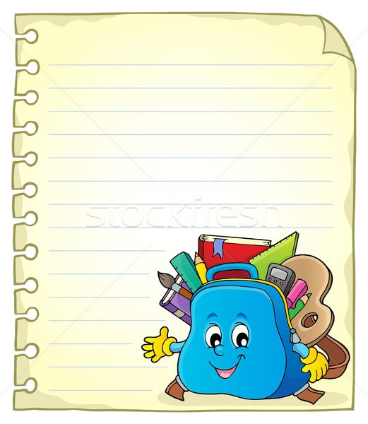 Notebook page with schoolbag 2 Stock photo © clairev