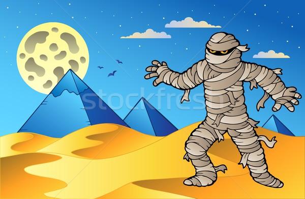 Night scene with mummy and pyramids Stock photo © clairev