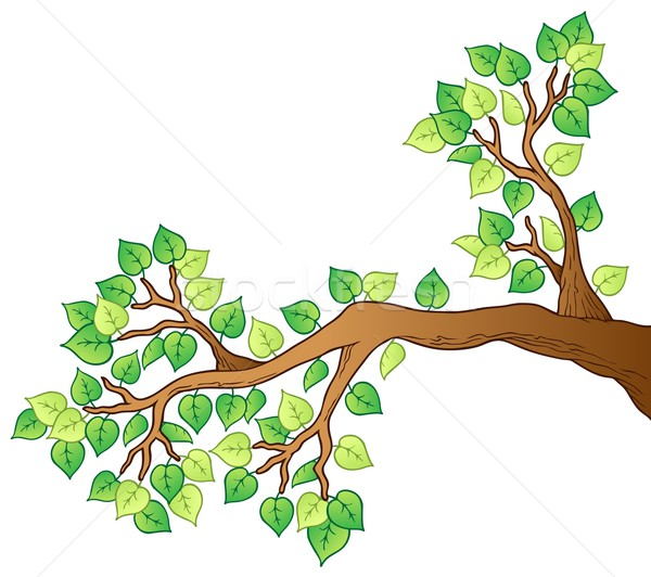 Cartoon tree branch with leaves 1 Stock photo © clairev