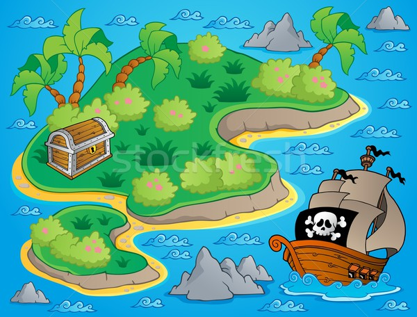 Theme with island and treasure 1 Stock photo © clairev