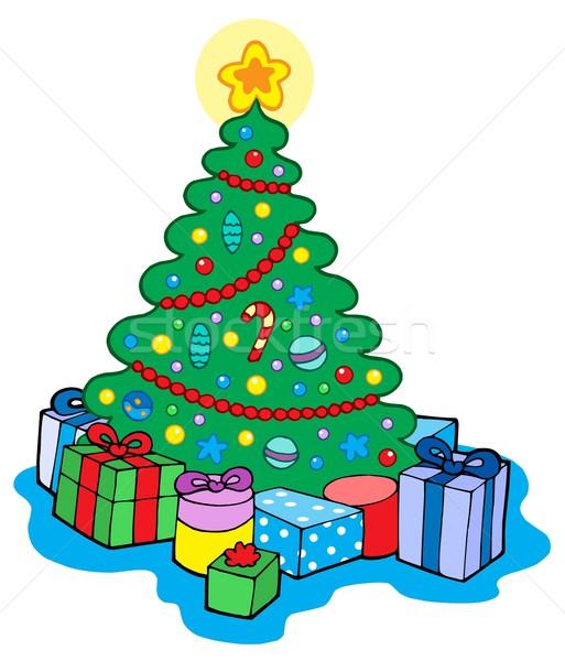 商业照片: 圣诞树 · 礼品 ·树· 冬天 ·球· 明星