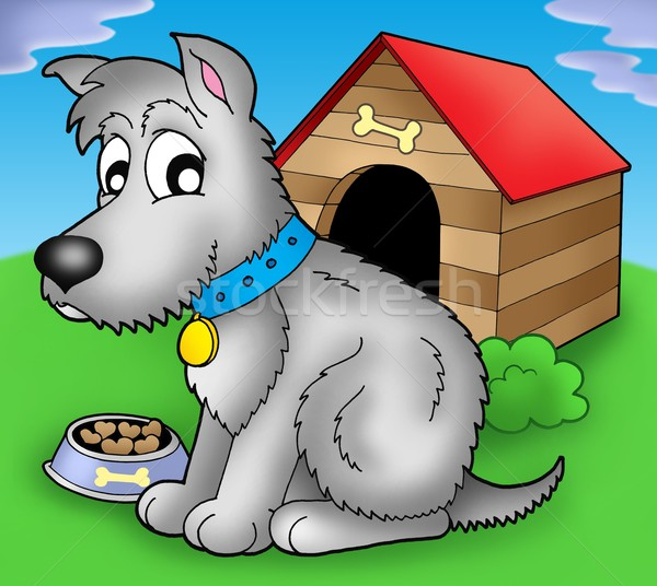 Grey dog in front of kennel Stock photo © clairev