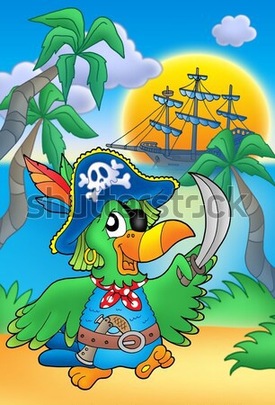 Pirate woman with parrot and boat Stock photo © clairev