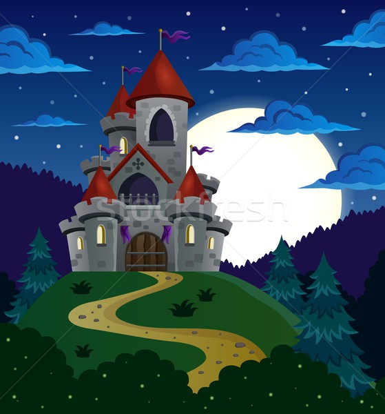 Night scene with fairy tale castle Stock photo © clairev