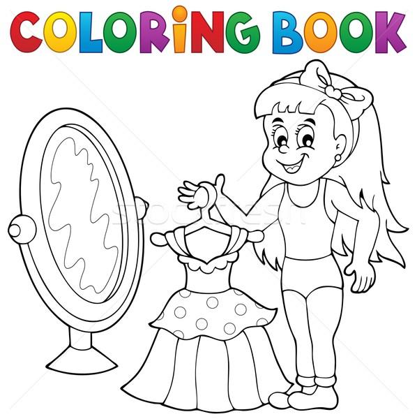 Boyama Kitabı Kız Elbise Gülümseme Kitap Moda Vektör