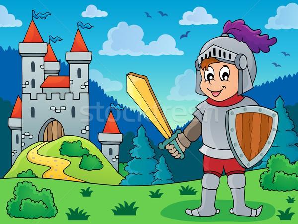 Ridder pantser kasteel man architectuur versnelling Stockfoto © clairev