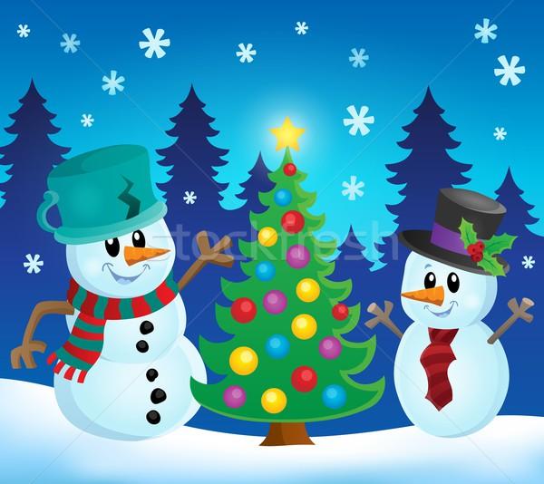 Foto stock: Natal · imagem · amarrar · boné · ornamento · ilustração