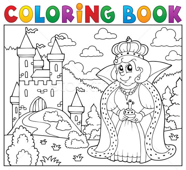 Boyama Kitabı Kraliçe Kale Kadın Kitap Bina Vektör