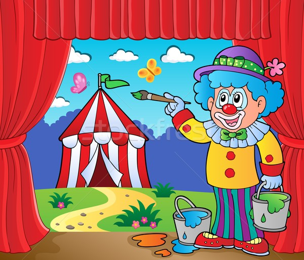 Clown painting image of circus on stage Stock photo © clairev