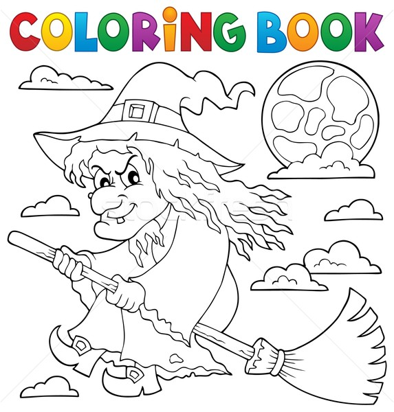 Coloring book witch on broom theme 1 Stock photo © clairev
