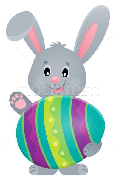 Stilizált nyuszi húsvéti tojás boldog nyúl művészet Stock fotó © clairev