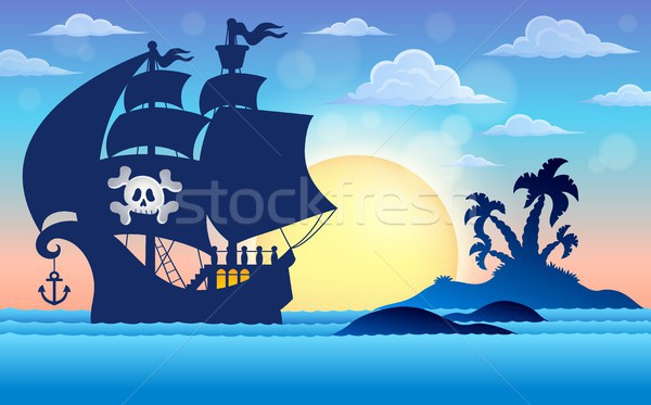 Pirate vessel silhouette theme 5 Stock photo © clairev