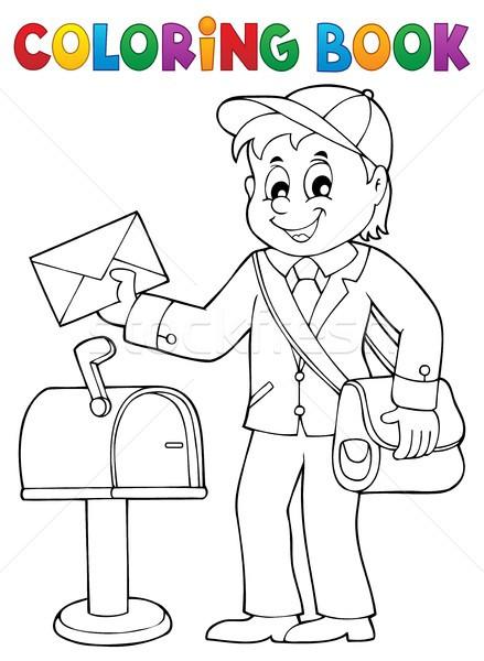 Ausmalbuch Briefträger Thema Business Arbeit malen Stock foto © clairev