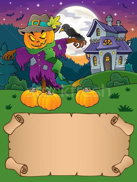 Pequeño pergamino halloween espantapájaros papel arte Foto stock © clairev