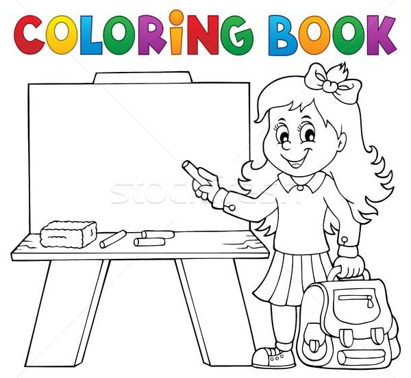 塗り絵の本 幸せ 少女 図書 子 学生 ストックフォト © clairev