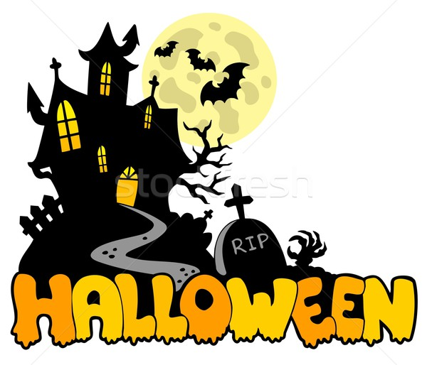 Stock photo: Halloween house with sign 1