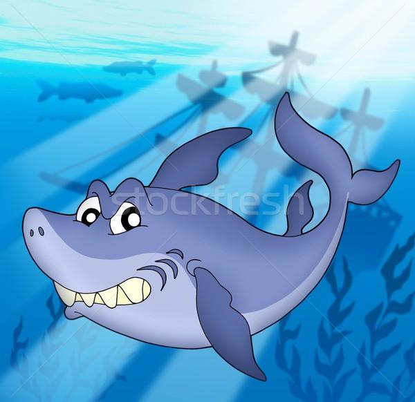 Tubarão naufrágio cor ilustração mar folhas Foto stock © clairev
